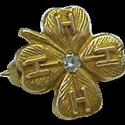 Vintage 10K Yellow Gold, 4 H Club Diamond pin