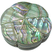 SOLD Vintage Mexico Sterling Silver Pill Box / Snuff Box Abalone Inlay