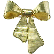 Vintage Gold Bow Brooch Pendant Avon 1980