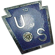 Vintage Sterling Silver Lindor Blue Enameled Diamond 10 OF US