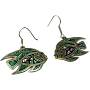 Mexico Sterling Silver Pierced Dangle Inlaid Turquoise & Abalone & Jet Fish Earrings