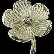 Vintage Monet Silver Tone Flower Brooch.