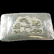 Vintage TA BE Gay Story Teller Sterling Silver /1/20 Gold Filled Belt Buckle