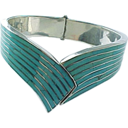 Vintage Sterling Silver Inlaid Turquoise Clamper Cuff