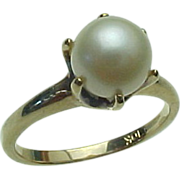 Vintage 10K Yellow Gold 7 mm White Pearl Ring