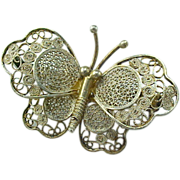 Wonderful Vintage 800 Silver Filigree Butterfly Pin