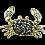 REDUCED Vintage 14 K Yellow Gold Sapphire & Diamond Crab Brooch/Pin
