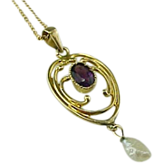 Victorian 14K Gold Amethyst and  Pearl Drop Lavalier Pendant