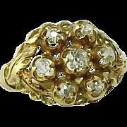 Antique Edwardian Mine Cut Diamond Cluster Ring ~ 18K Gold