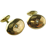 Victorian 14 K Gold & Seed Pearl Cuff Links