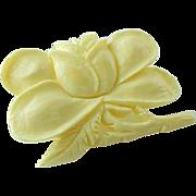 Vintage Carved Rose Bud Bone Brooch/Pin