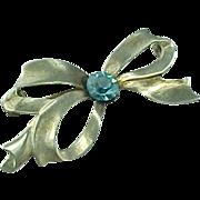 Sterling Silver Blue Topaz Glass BOW Brooch