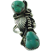 Vintage Sterling Silver Elongated Morceni Turquoise Ring