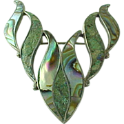 Tribal Taxco Sterling Silver Inlaid Abalone Brooch ~Signed BETO~