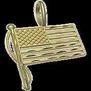 14K Yellow Gold AMERICAN Flag Pendant/Charm