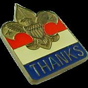 """Vintage Enameled """"Thanks"""" Boy Scout Pin"""