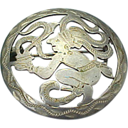 Vintage 900 Silver Guatemala Cut Out Brooch