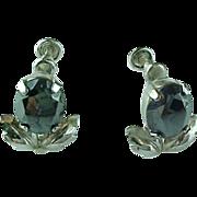 Vintage VAN DELL Sterling Silver Hematite Flower Screw Back Earrings