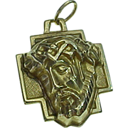 Vintage 14K Yellow Gold Three Dimensional Medal Jesus Christ With Crown Of Thorns