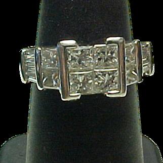 SALE Vintage 14K White Gold 2.25 Carat Princess Quad Diamond Engagement Ring