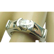 Vintage Sterling Silver Unique Style Simulated Diamond Ring