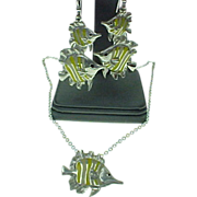 SOLD Kabana Sterling Silver, Tropical Fish Necklace & Earrings Set