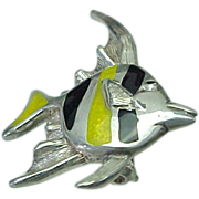 Sterling Silver Kabana,Tropical Fish Enameled Brooch