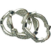 Sterling Silver 3 Band Stack-able Simulated Diamond Eternity Ring Set