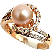 14K Rose Gold Blush Pearl & Diamond Swirl Ring