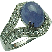 Vintage Cabochon Tanzanite  and White Topaz Ring ~ Circa 1990