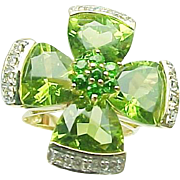 14K Yellow Gold Peridot & Chrome Diopside Diamond Four Leaf Clover Ring ~ Good Luck~