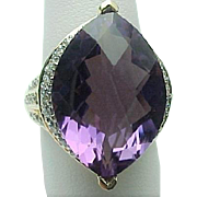 14K Yellow Gold 10.00 Carat Amethyst & Diamond Ring