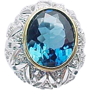 14K White Gold London Blue Topaz & Diamond Dome Ring