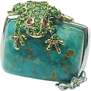 SALE Stunning Handcrafted Sterling Silver Turquoise, Green Tourmaline, Ruby and Diamond Frog .
