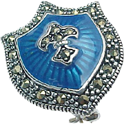 Sterling Silver Blue Enameled & Marcasite Shield Pin