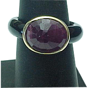 Stylish Onyx And Faceted Amethyst Ring