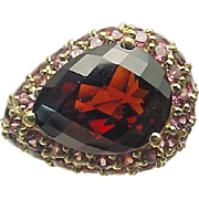 10K Yellow Gold 2.80 Carat Pear Pyrope & Rhodolite Garnet Ring