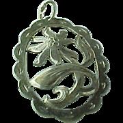 Large Sterling Silver Diamond Cut Oval Flower Pendant