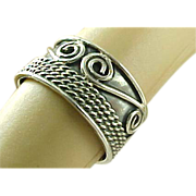 Mexico Sterling Silver Swirl Rope Design Band