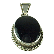 Mexico Sterling Silver Oval Onyx Pendant