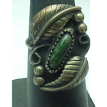 Elongated Turquoise Leaf Ring