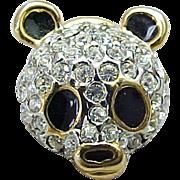 Vintage Rhinestone & Enameled Pandan Bear Pin