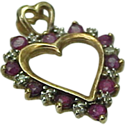 Vintage 14K Yellow Gold Ruby & Diamond Heart Pendant/Charm