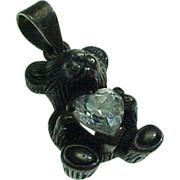 Estate Sterling Silver Teddy Bear Heart Pendant/Charm