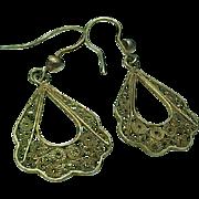 Vintage Sterling Silver /Vermeil Filigree Pierced Dangle Earrings
