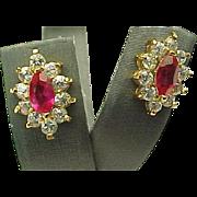 Vermeil Faux Ruby & Diamond Pierced Post Earrings