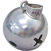 Mexico Sterling Silver, X & O Large Ball Pendant