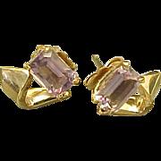 Vintage 14K Gold Filled .50 Carat Emerald Cut Amethyst Post Earrings