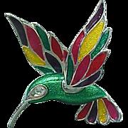 Colorful Enameled Hummingbird Silvertone Brooch