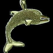 Vintage 14K Yellow Gold Diamond Cut Three Dimensional Dolphin Pendant